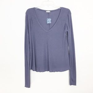 NWT Free People Low V Neck Ribbed Tee Top